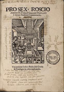 Pro Roscio Amerino: Cicero'nun oğul Roscius'u savunduğu sırada mahkemede verdiği söylevleri içeren kitabı (kaynakça: bvh.univ-tours.fr).