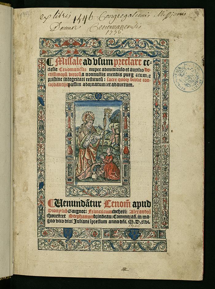 Missel du Mans, R�s. Maine F* 51, pages de titre   Cr�dits : M�diath�que Louis-Aragon du Mans   BVH, Tours. Projet BHLi, Biblissima.